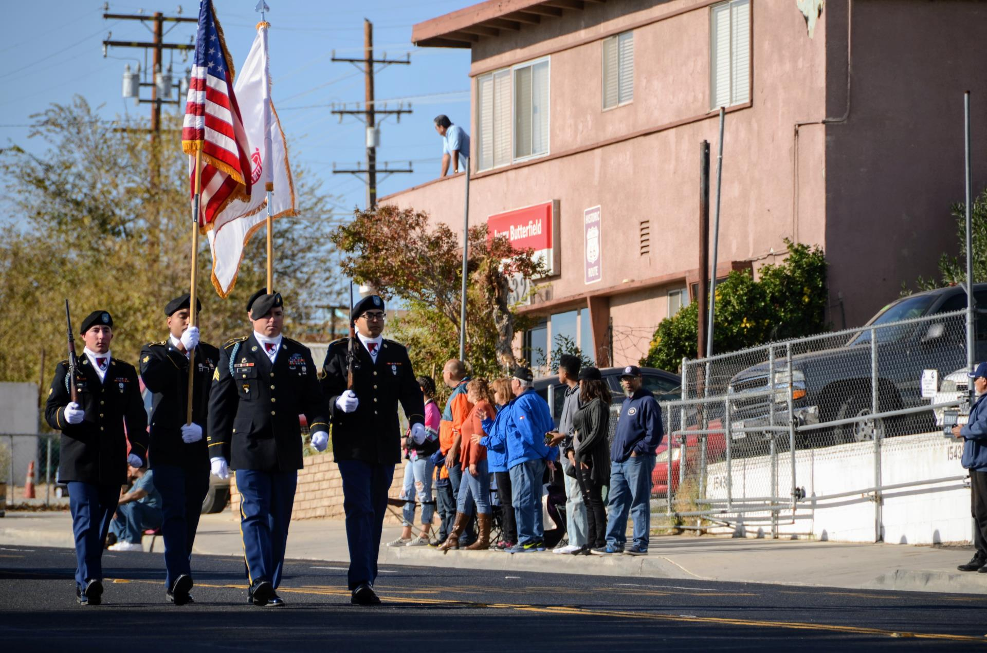 Color Guard Marching in Veterans Day Parade