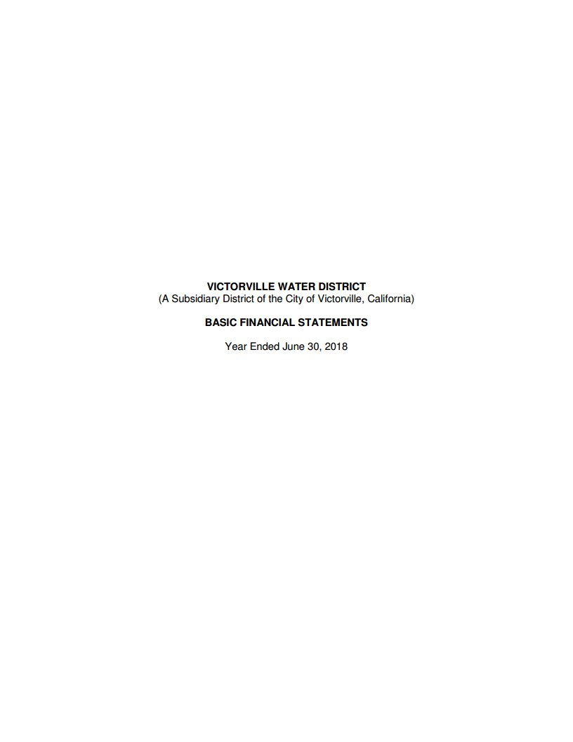 2017-2018 Victorville Water District Financial Statement