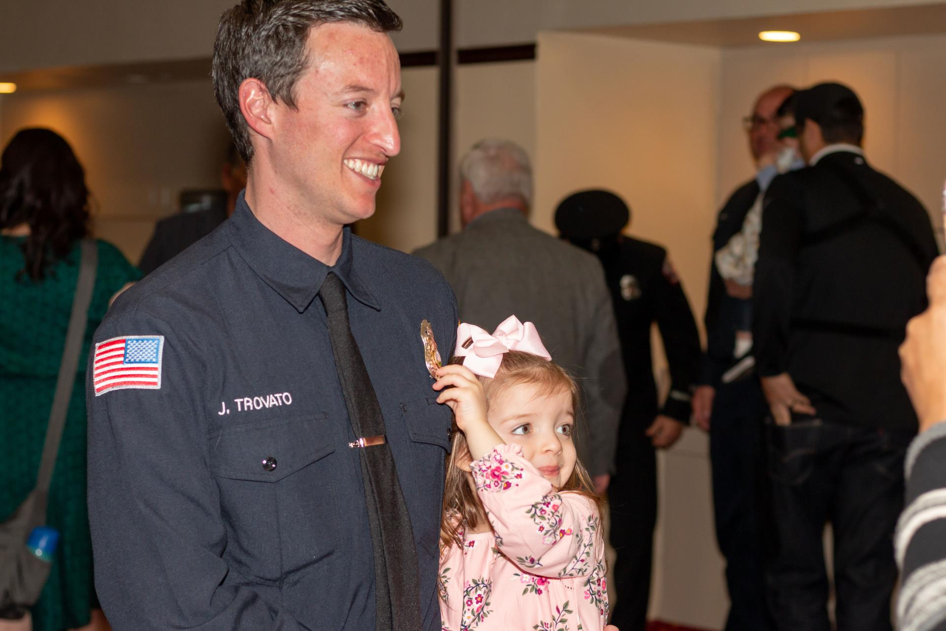 Firefighter/Paramedic Trovato and daughter