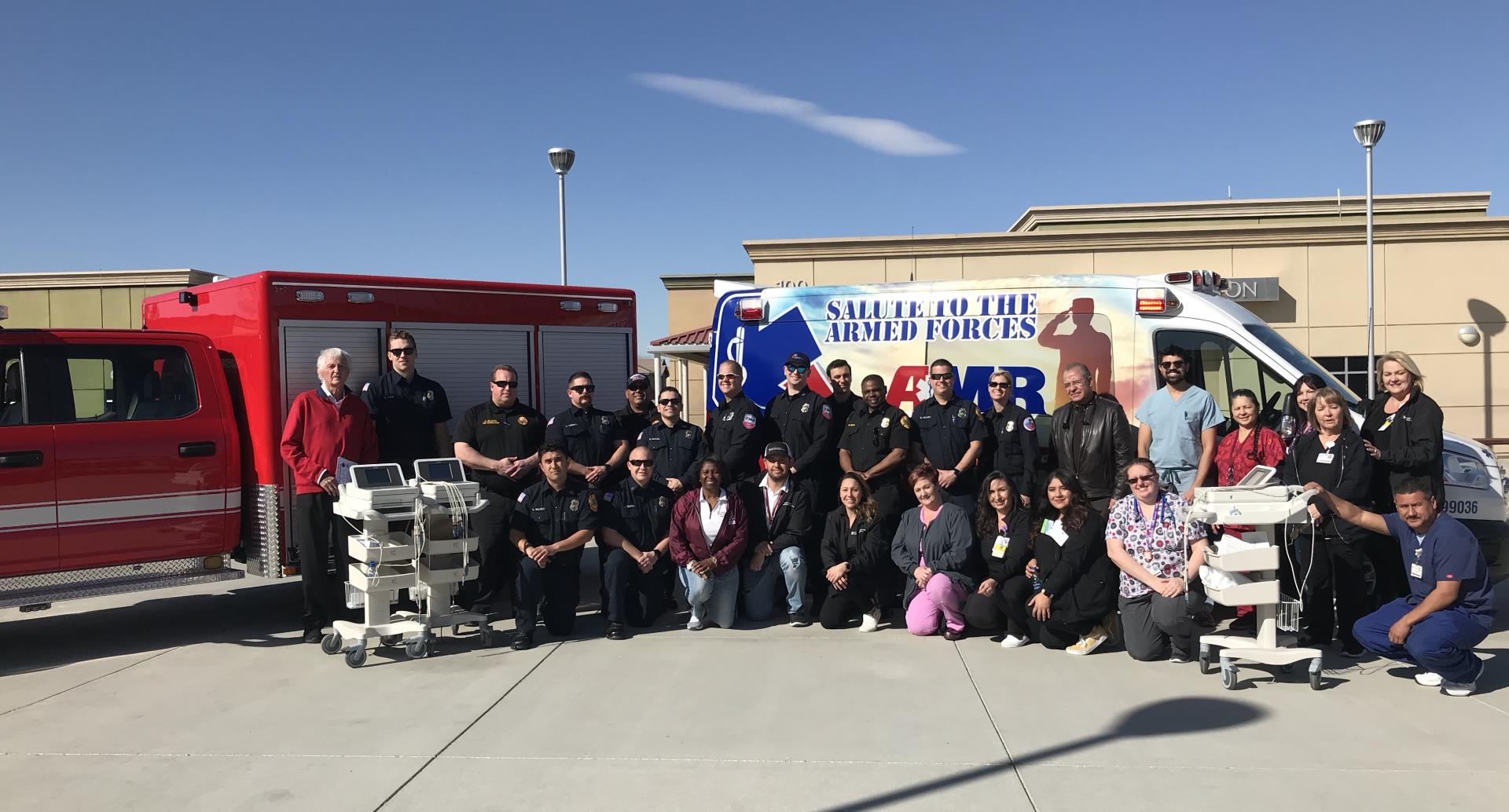 Group photo of personnel from local agencies who provided free heart screenings to VVUHSD students