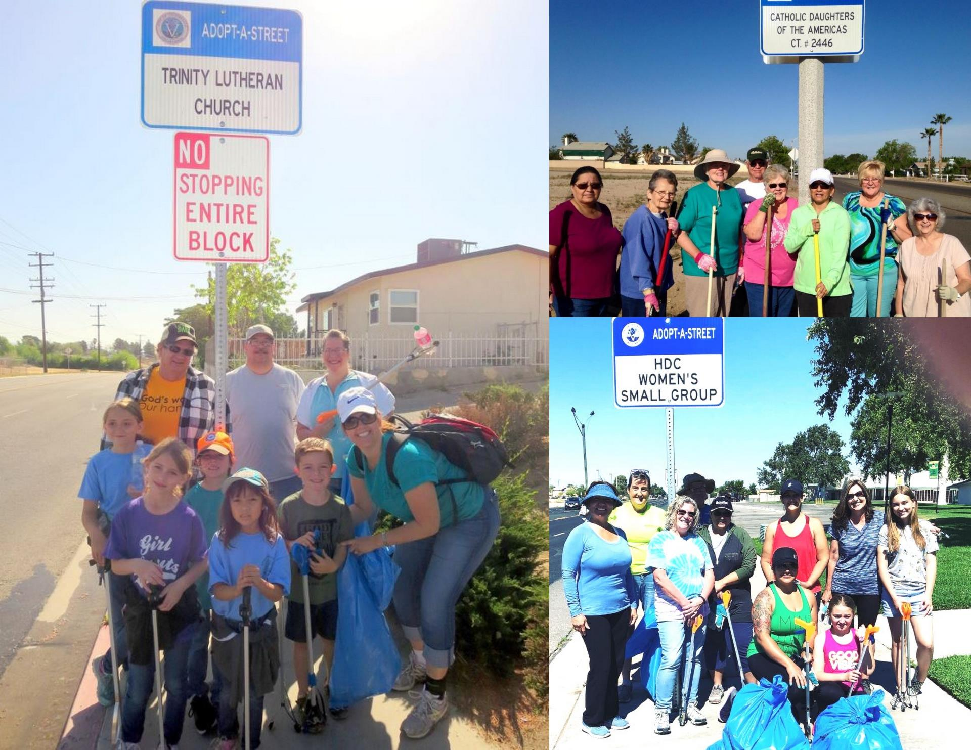 3 Groups of volunteers and their Adopt-a-street signs