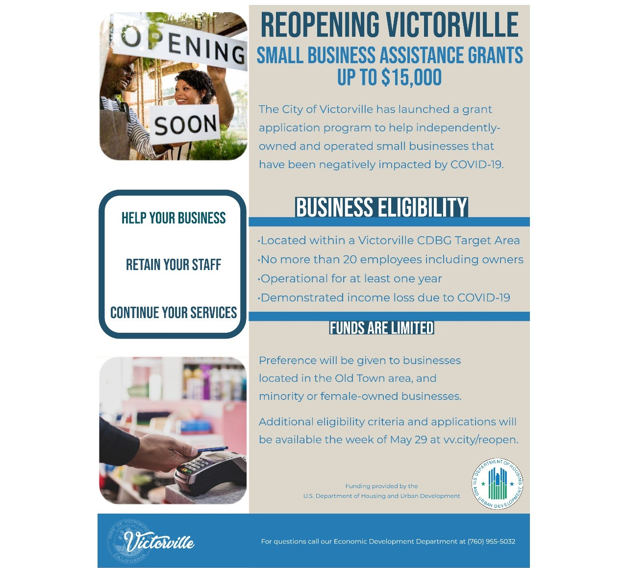 Flyer for the Reopening Victorville Grant Program