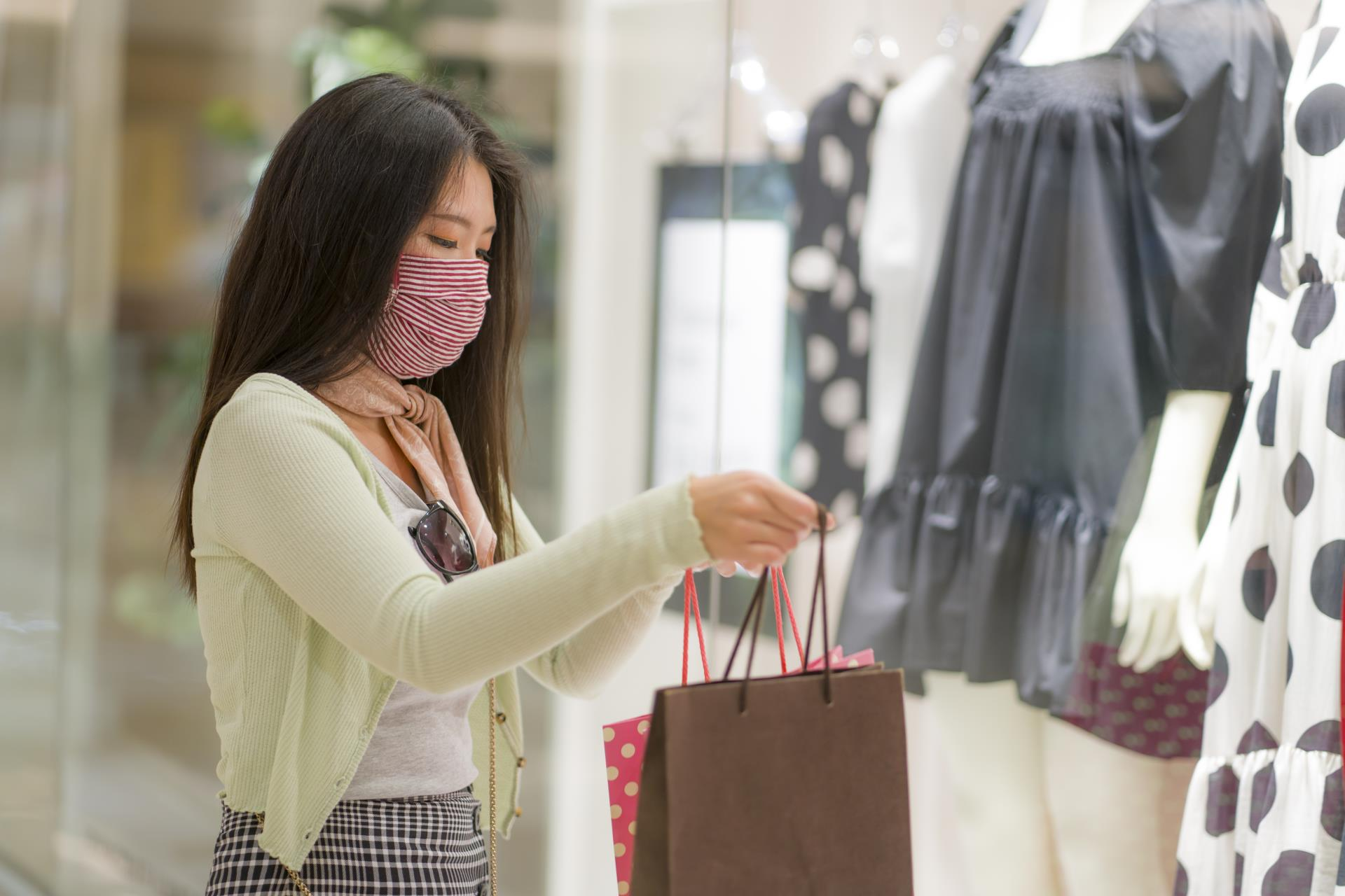 Woman Shopping With Mask On