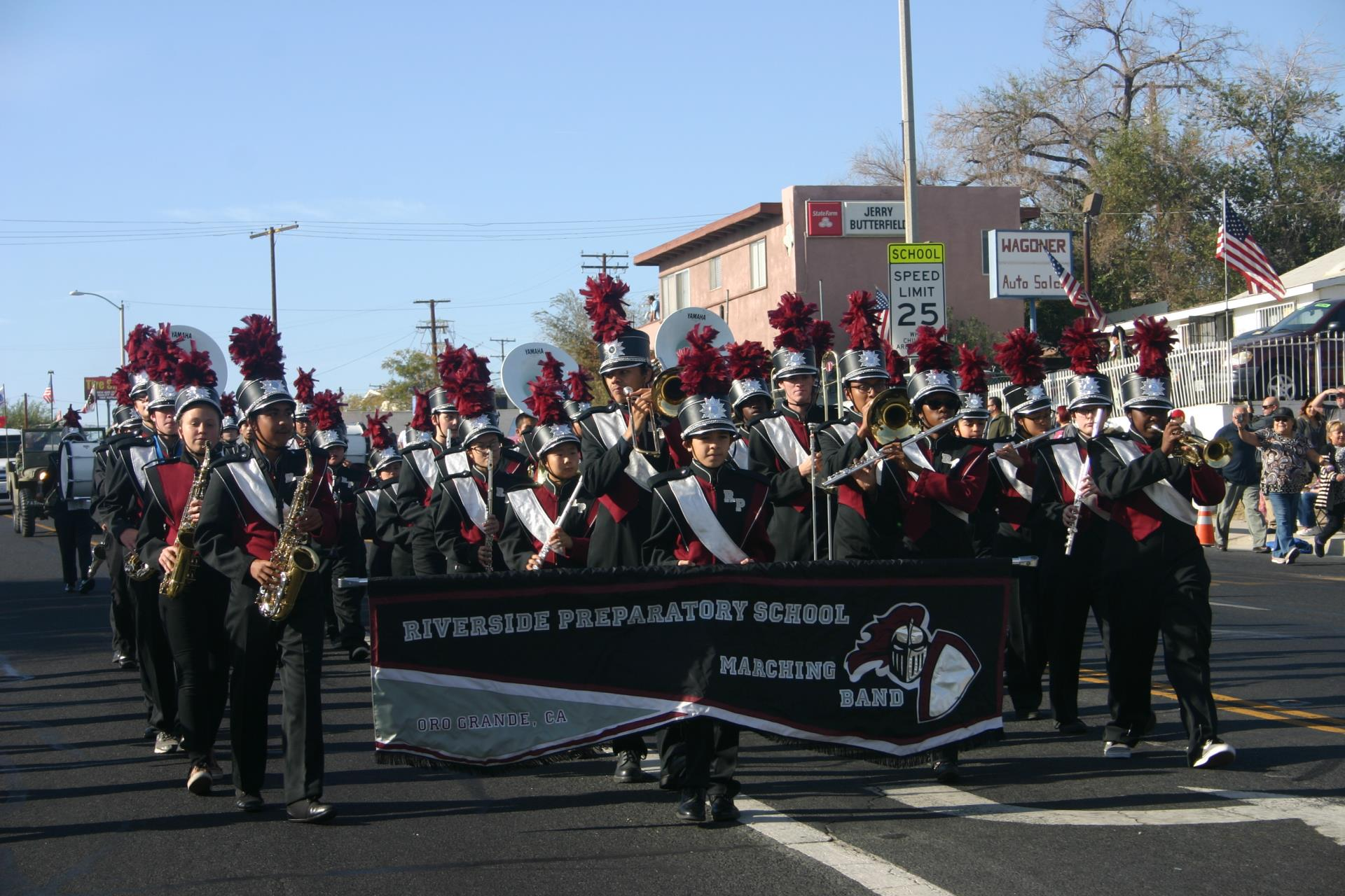 Photo of a local band marching in the Veterans Day Parade