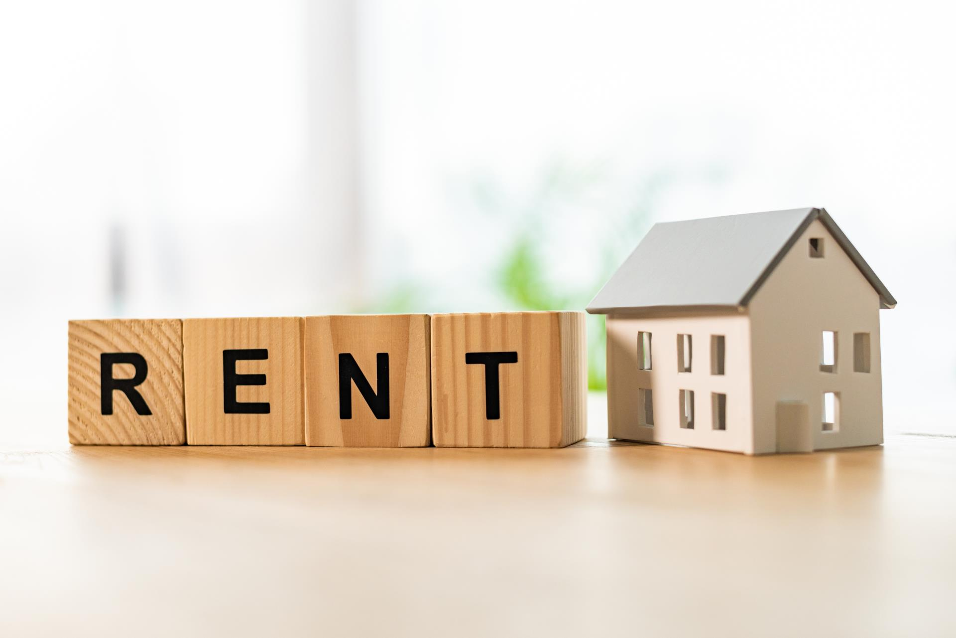 Rent spelled in Bblock letters